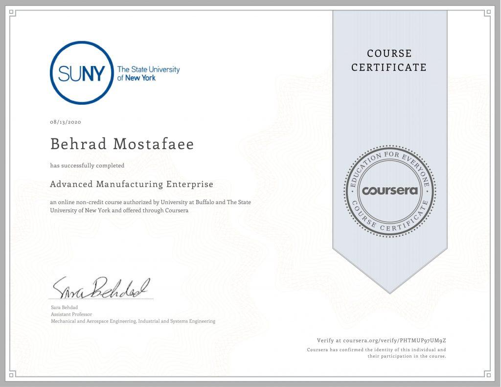 Advanced Manufacturing Enterprise Behrad Mostafaee