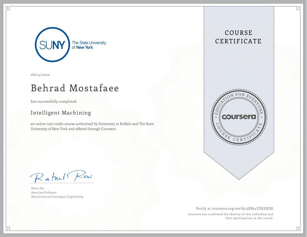 Intelligent Machining certificate Behrad Mostafaee